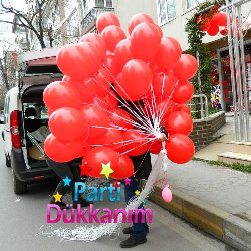 Kırmızı Helyum Balon Demeti